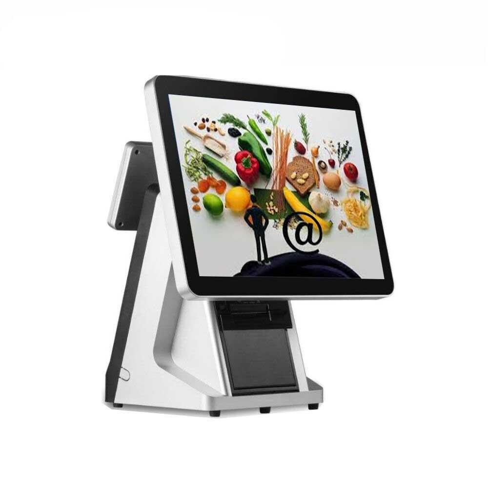 Precio de fábrica máquina POS para minoristas sistema POS pantalla táctil de 15 con impresora incorporada de 58mm y punto de venta VFD