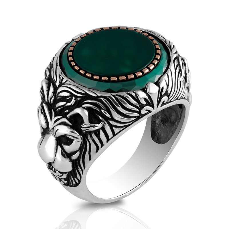 Guaranteed High-quality 925 Sterling Silver Agate STONE Ring Jewelry Made in Turkey Beautifully Crafted for men with gift