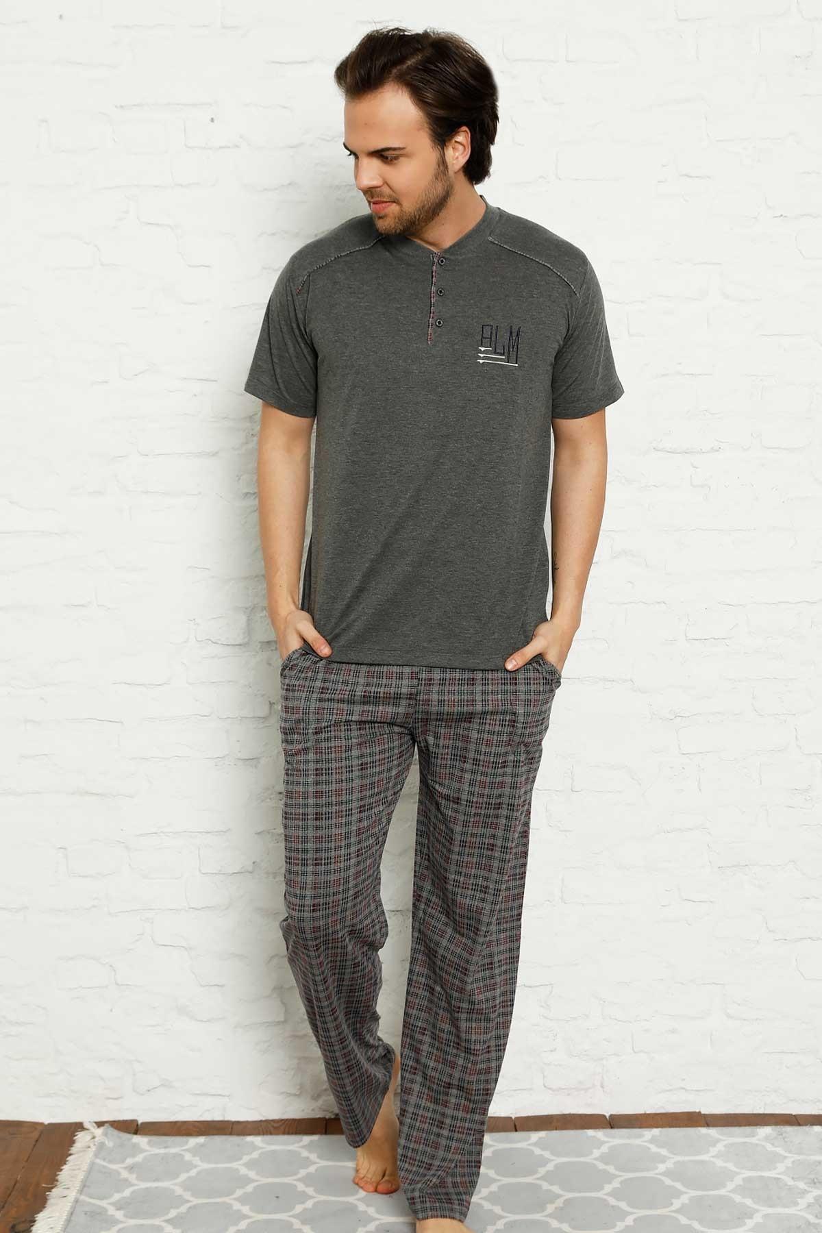 New Summer Spring Men 'S Pajamas Sets Short Sleeve 2 Color Pockets Sleepwear Pajamas Suit Homewear Overnight Dressing Gown