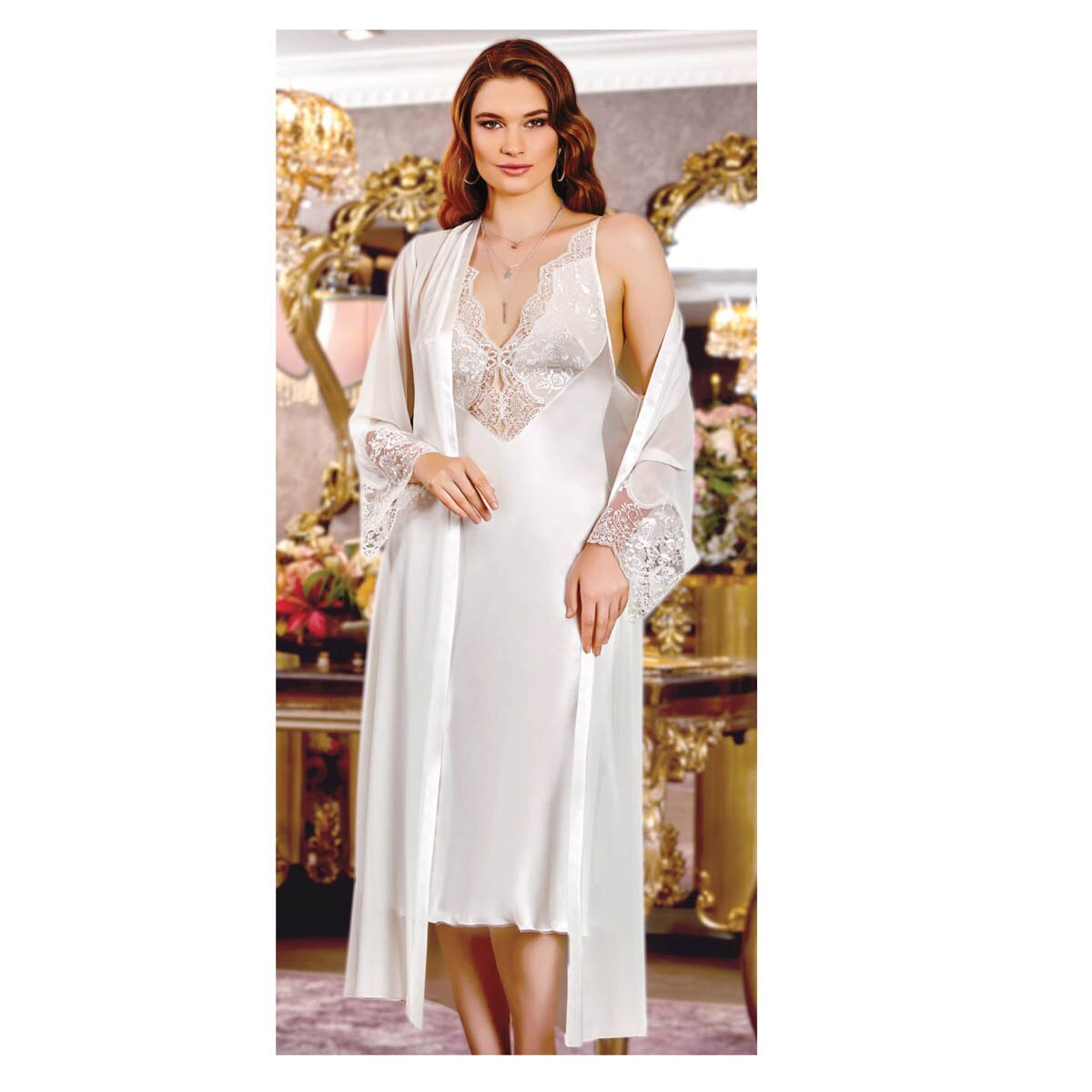 Women's Nightgown Dressing Gown Pajamas Set White Lace Long Sexy Underwear 6 Pieces Wedding Dowry Gift Pack Can be Worn At Home