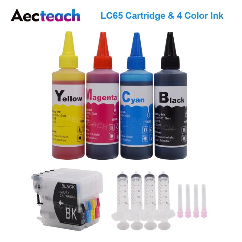 Aecteach LC65 XL tinte cartuchos de tinta, cartuchos de hermano LC 11 16 38 61 65 67 980 1100 MFC-250C 255CW 257CW J270W impresora + 400ml de tinta Kit