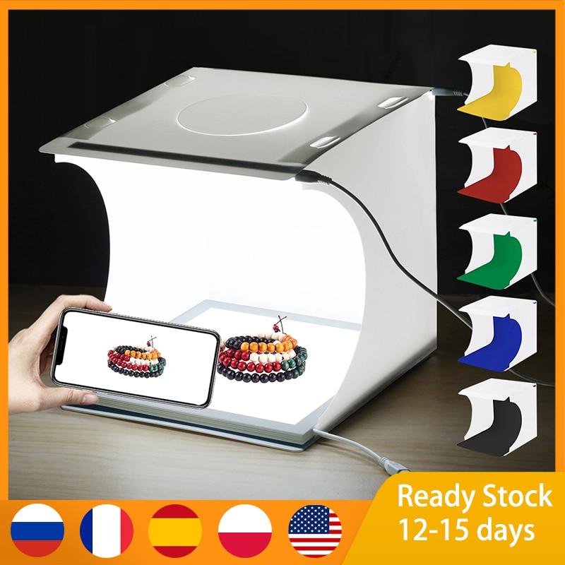 PULUZ Mini LED Photography Shadowless Light Lamp Panel Pad + Studio Shooting Tent Box, Acrylic Material, 20cm x Effective