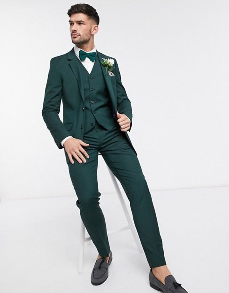 بدلة رسمية ضيقة تناسب العريس باللون الأخضر الوسيم لعام 2021 ، بدلة أفضل للرجال لحفلات الزفاف ، سترة بأزرار (سترة + بنطلون + سترة)