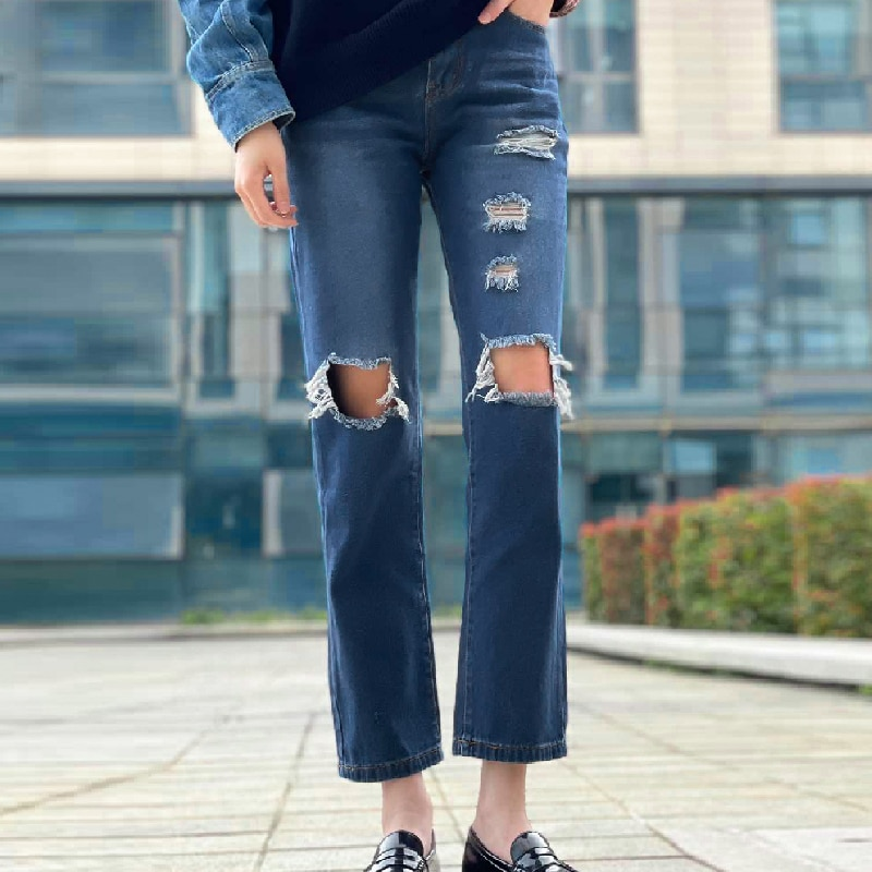 Hole Ripped Straight High Waist Jeans Women Fashion Streetwear Boyfriend Mom Pants Asymmetric Hollow Denim Trousers Blue Black