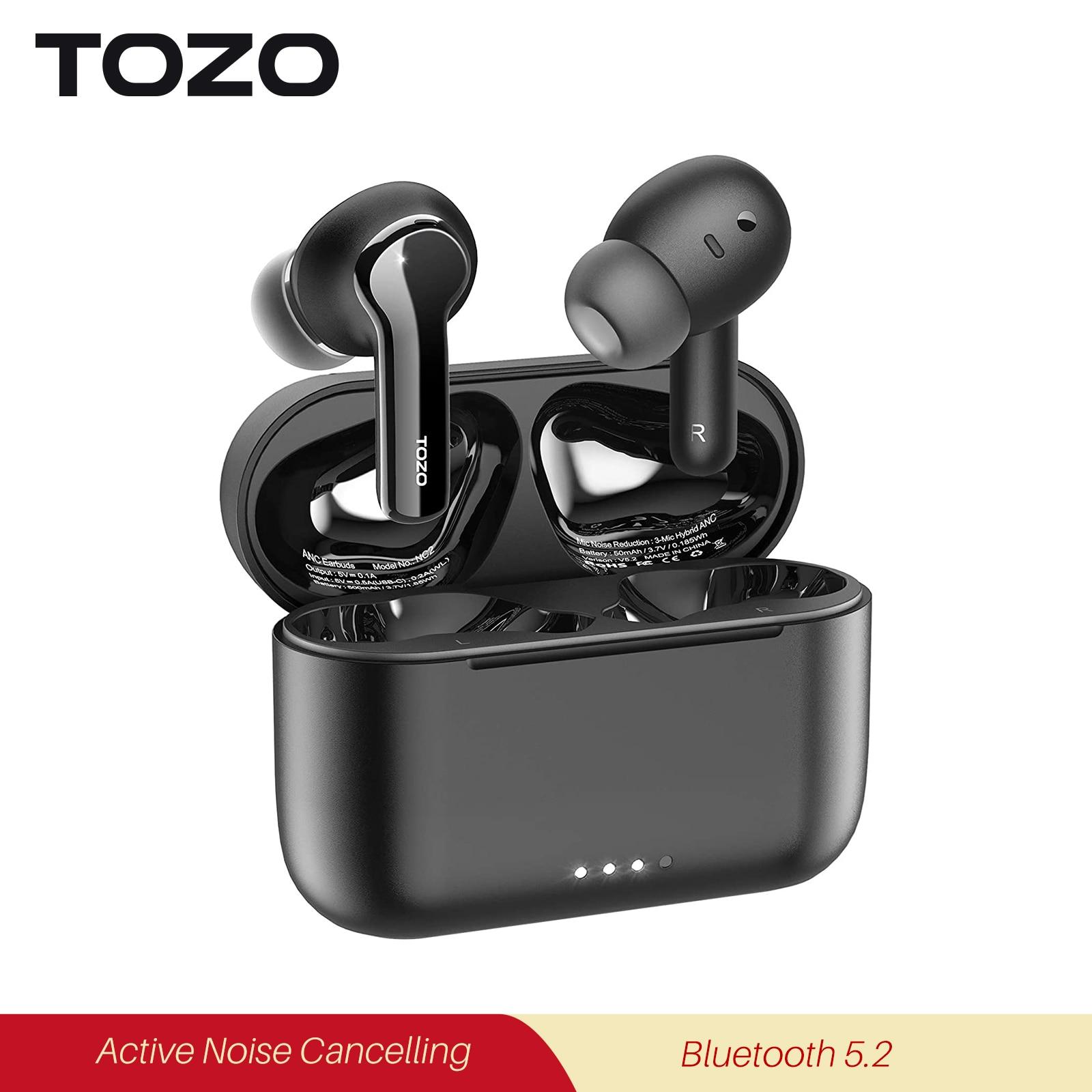 TOZO NC2 Earphone Bluetooth 5.2 Wireless Earbuds ANC Headphones IPX6 Stereo Bass Tws Headset Noise Cancelling Earpiece