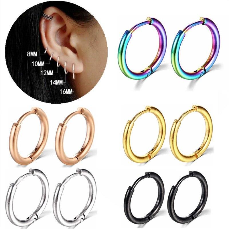 1 par de argola de aço inoxidável brinco para mulheres homens argola anel nariz cartilagem piercing hoop brinco granel daith piercing hélice earing