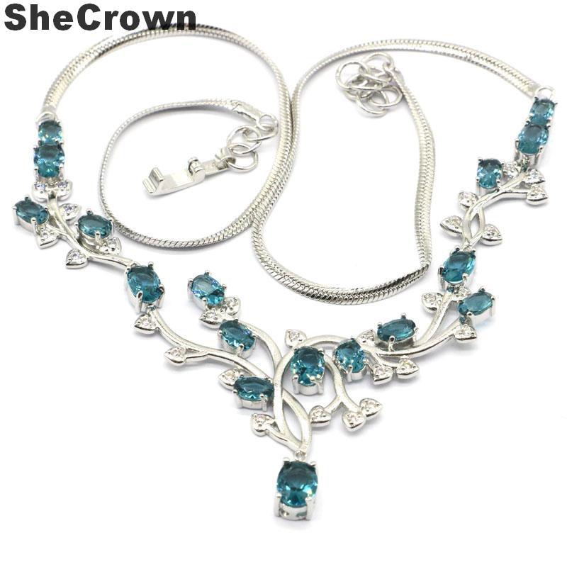 55x38mm Deluxe SheCrown London Blue Topaz blanco CZ boda mujer Collar de plata 18,5-19 pulgadas