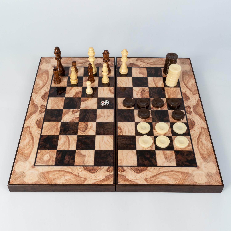 Classic Backgammon Chess Checkers Board Game Tavla 3 in 1 Wooden Brown & Cream Design Big Size Perfect Gift Full Pieces Inc.