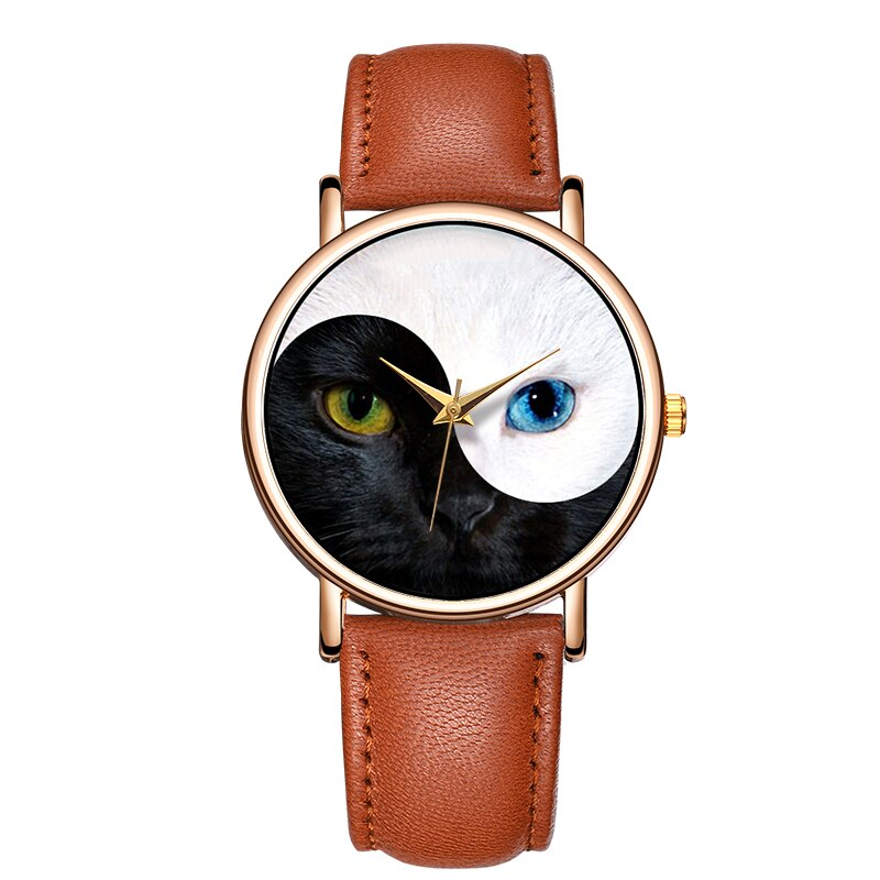 Relojes de mujer, reloj de pulsera para mujer, reloj sencillo con diseño de gato, reloj femenino, reloj femenino para mujer