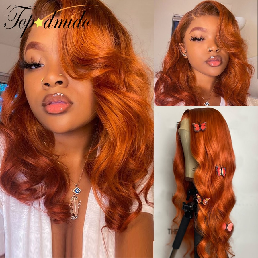 Orange Ginger Color 13x4 Lace Front Wigs Pre Plucked Brazilian Wavy Human Hair Wig 180% Density Remy Glueless Lace Wig for Women