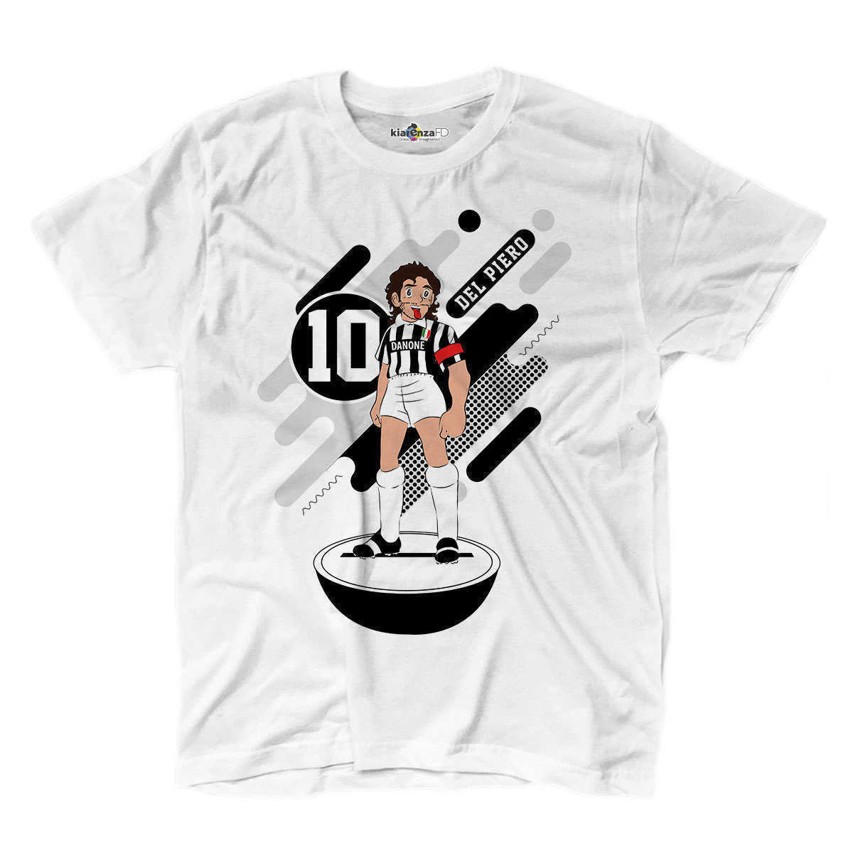 Camisa de futebol t camisa manga del piero lenda branca spoof subbuteo holly e benji s