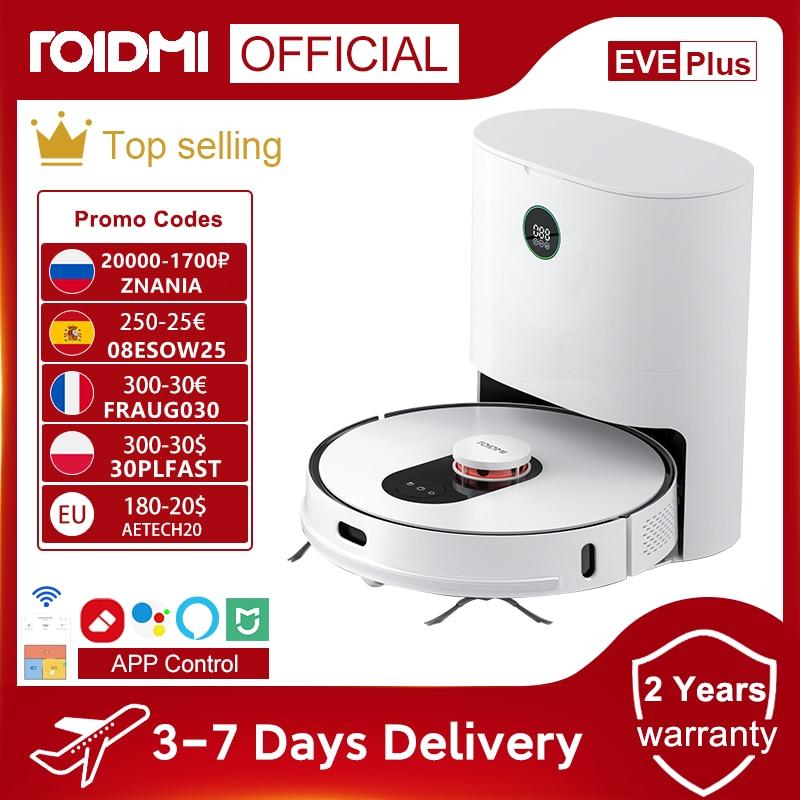 Code: FRAUG030(300-30€) ROIDMI – aspirateur Robot EVE Plus, avec collecteur de poussière intelligent, balai à franges, compatible avec l'application Mi Home, Google Assistant Alexa