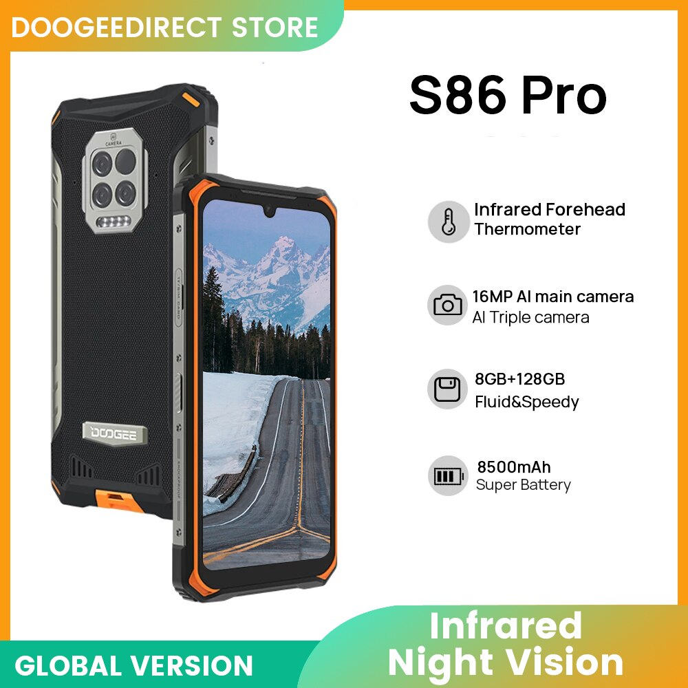 DOOGEE S86 Pro Rugged Smart Phone 8GB+128GB Infrared Thermometer Mobile Phone Smartphone HelioP60 Octa Core 8500mAh