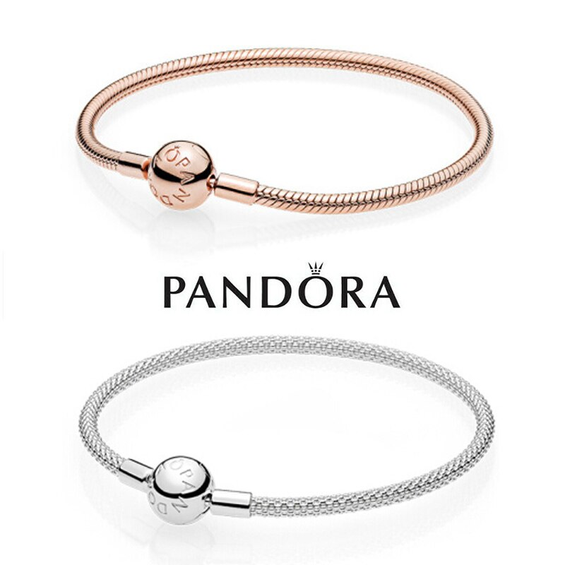 Pandora Sliver Rose Gold Snake Chain Women Bracelets