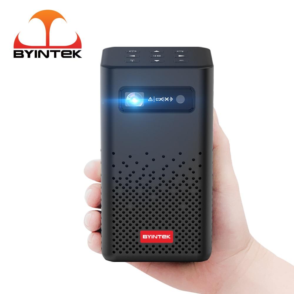 Портативный мини-проектор BYINTEK P20 для путешествий, пико Smart, Android, Wi-Fi, 1080P, ТВ, цифровой LED проектор с аккумулятором для мобильного смартфона, 4K ...