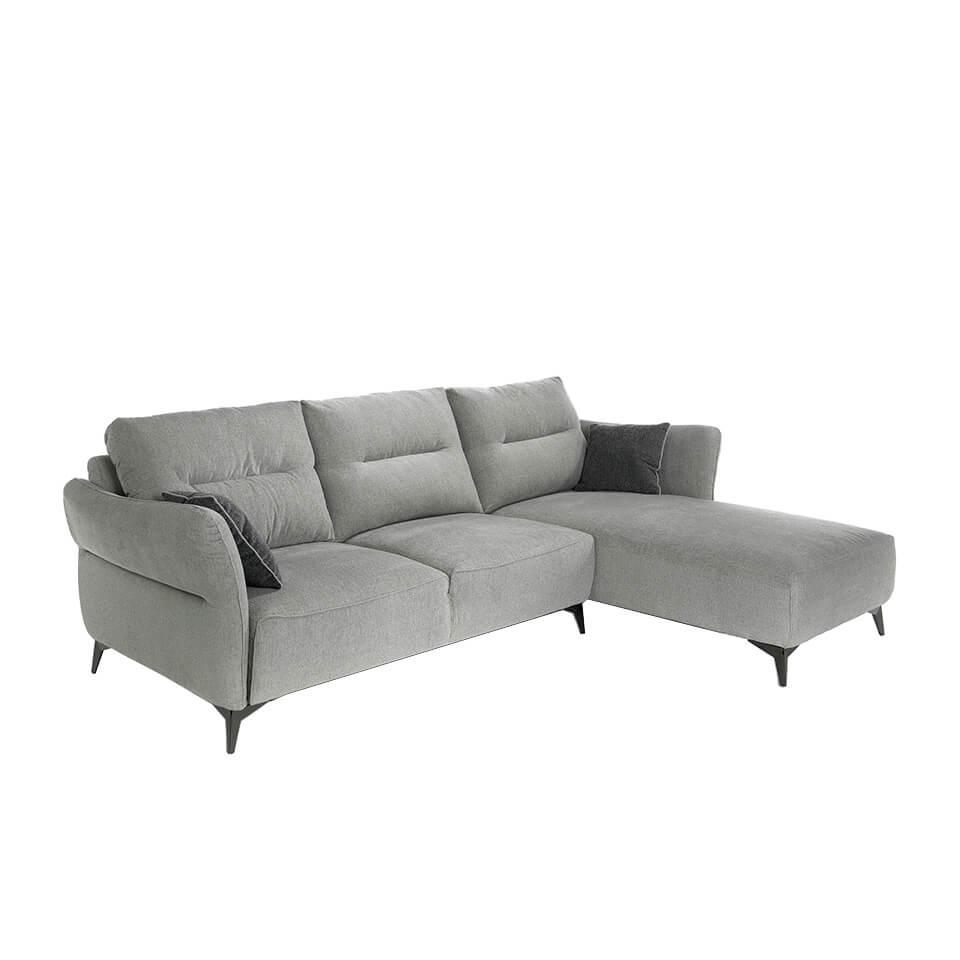 Sofá 3-plazas y chaiselong derecha tapizado en tela con patas de acero,Sofá de diseño,Sofá moderno 6092 Angel Cerdá S.L