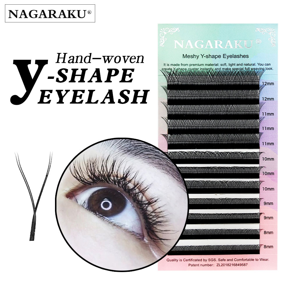 NAGARAKU YY shape hand woven premium mink soft light natural eyelashes extension makeup mesh net cross false eyelash individual