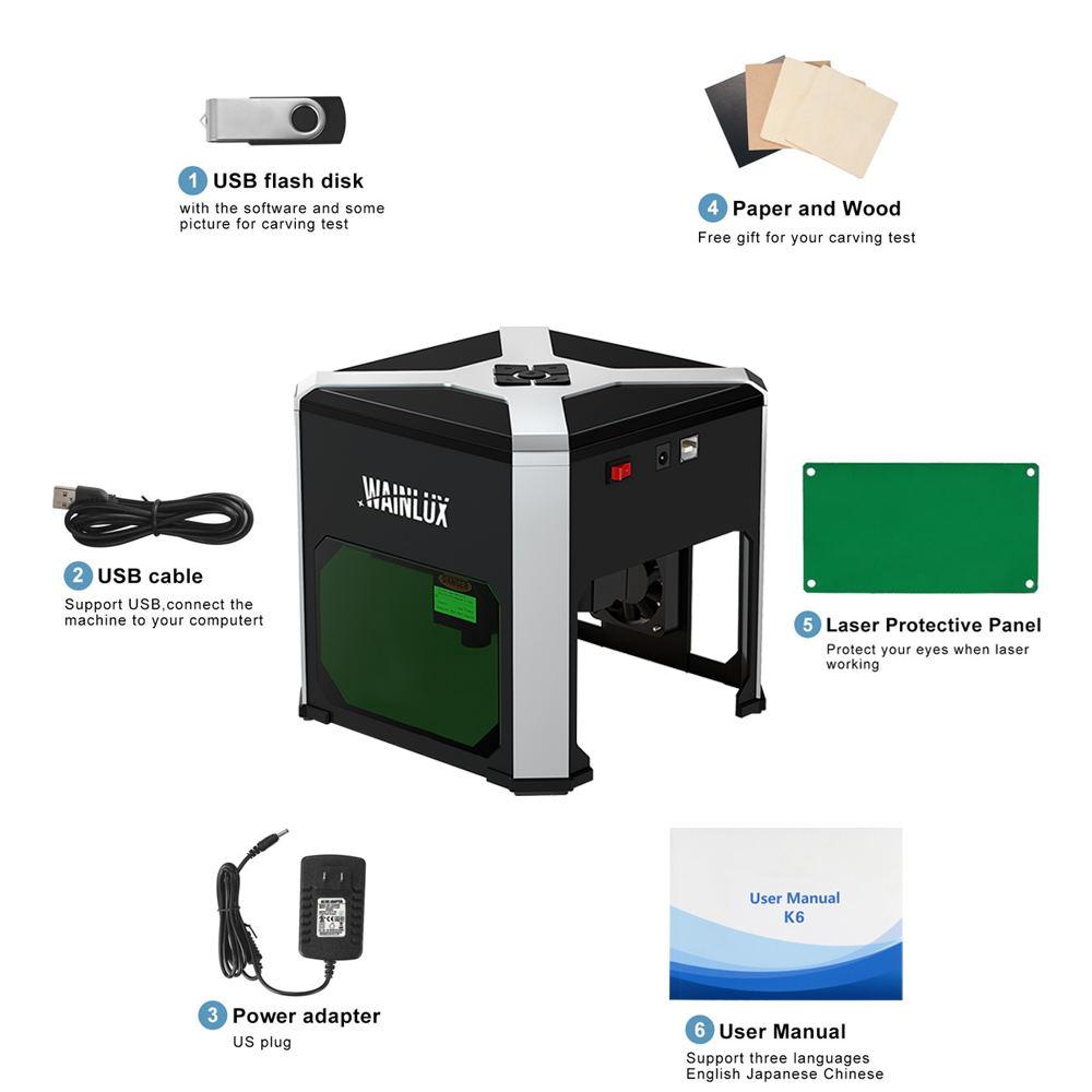 Wainlux Laser Engraver K6 Laser Engraving Machine 3000mW Mini DIY Logo Printer Support Windows 7/8/10 Mobile APP Connection enlarge
