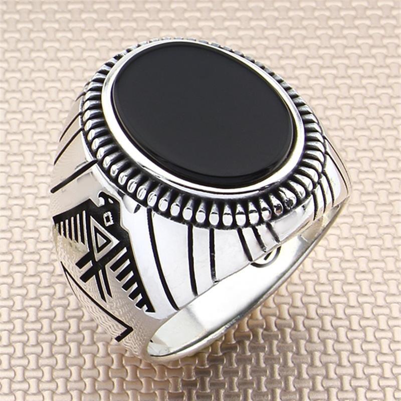 Anillo de Plata de Ley 925 con Piedra Negro para los hombres   De piedras preciosas de ónix de los anillos de los hombres   Hecho a mano auténtica plata pura-turco joyería