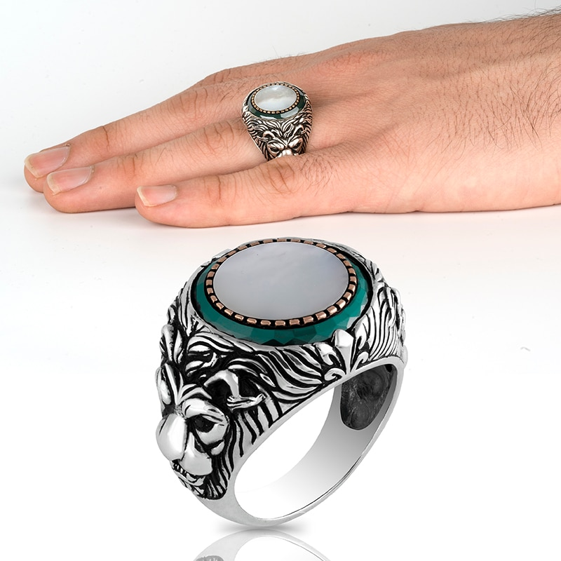 High-quality 925 Sterling Silver Pearl Stone Ring Jewelry Made in Turkey Beautifully Crafted for men with gift  All Size Luxury