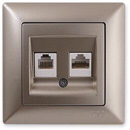 Pnpnelectr.com-Gns مقبس هاتف معدني بيج ، بيانات رقمية (RJ45 Cat5 Cat3)