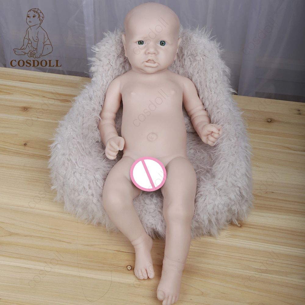 Unpainted Full silicone Reborn Dolls 57CM Open mouth for Children Toys Toddler solid Full Body Naughty Girl Reborn Doll #05