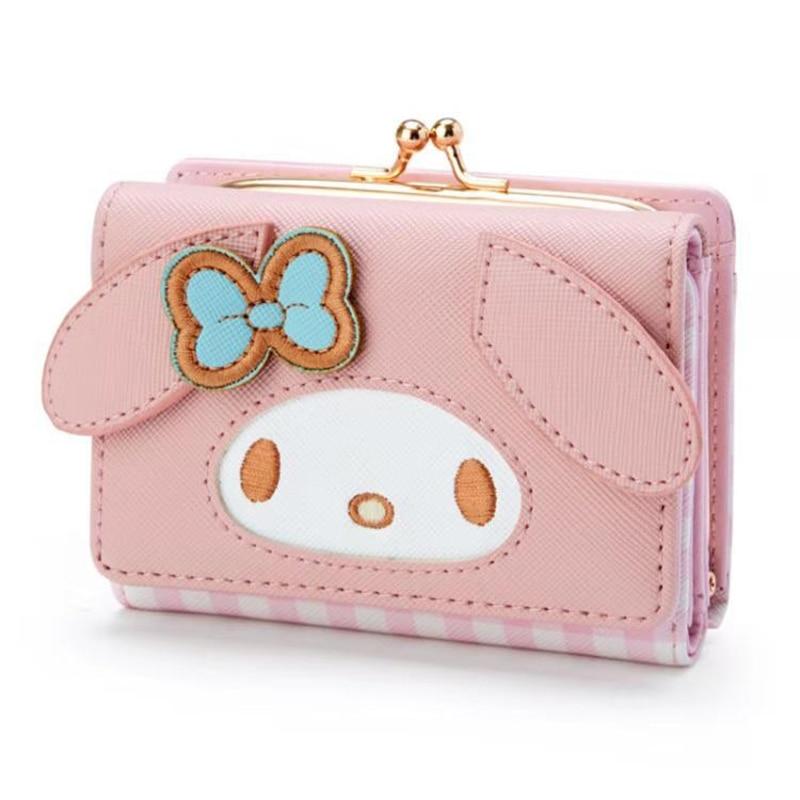 لطيف الكرتون بلدي ميلودي Kuromi Pompompurin سينامورول محفظة صغيرة فقرة قصيرة السيدات الفتيات محفظة محفظة نسائية للعملات المعدنية بطاقة حزمة