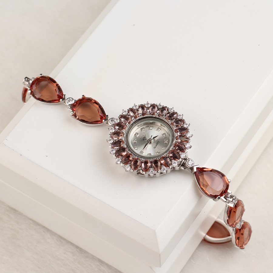 Handmade Zultanite Silver Quartz Watch for Women , Color Changing Drop Zultanite Stone Watch, Silver Handmade Zultanite Watch enlarge