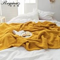 regina brand super soft warm blankets cozy breathable gray beige autumn decor knitted bedspread luxury sofa bed throw blanket