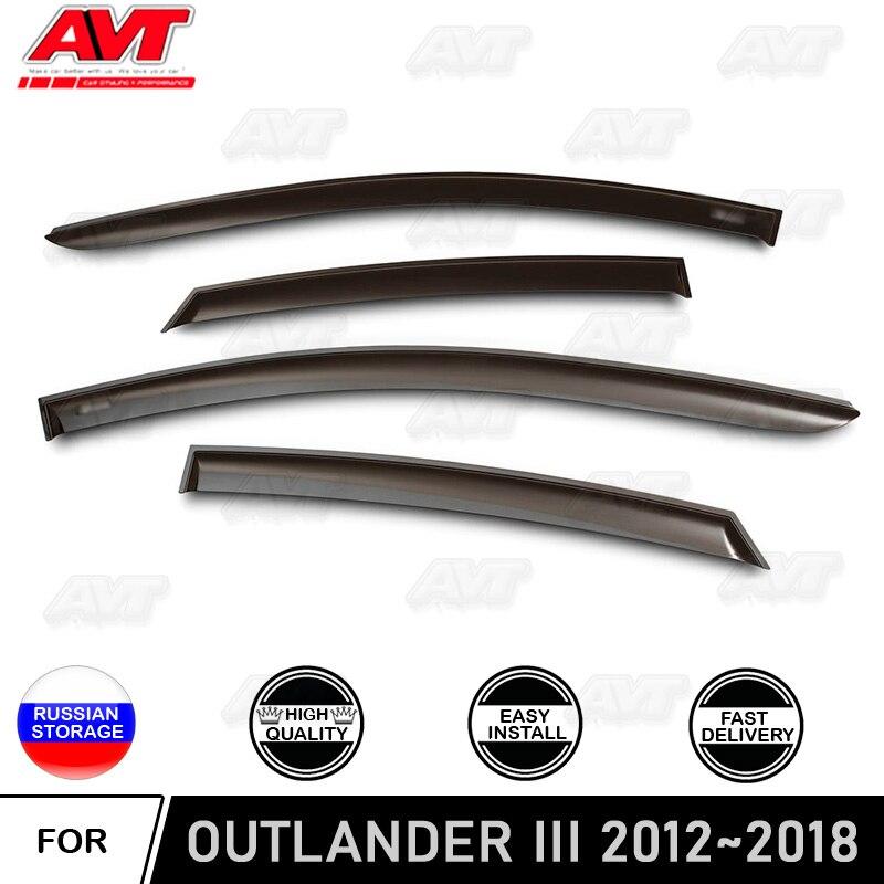 Window deflectors for Mitsubishi Outlander 2012~2018 car styling wind deflector guard auto vent visor rain guards cover decor