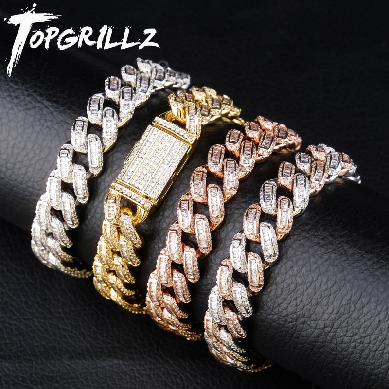 TOPGRILLZ-سوار رجالي بنمط الهيب هوب ، سوار رجالي ، مرصع بالزركونيا ، مربع ، 14 مللي متر ، 7.5-9.5 بوصة
