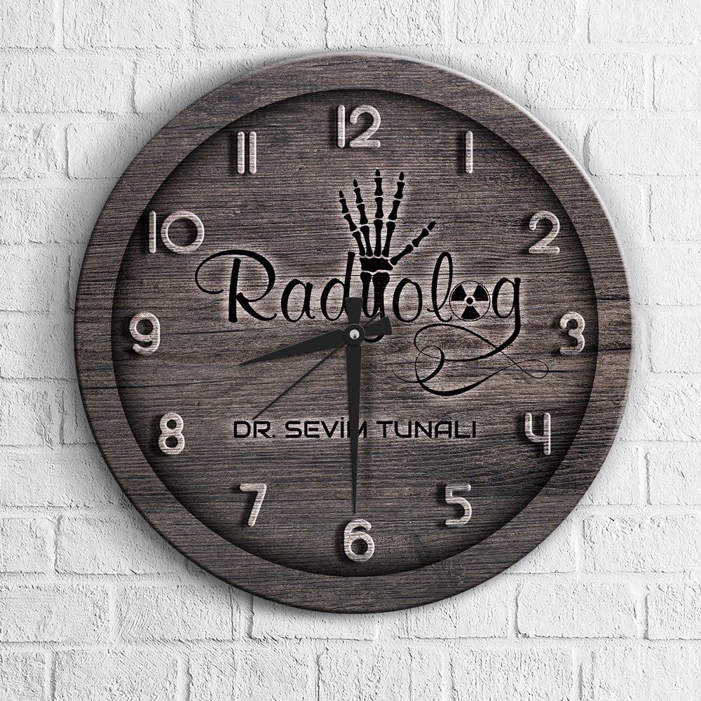 Reloj de pared personalizado profesional radiólogo madera-1