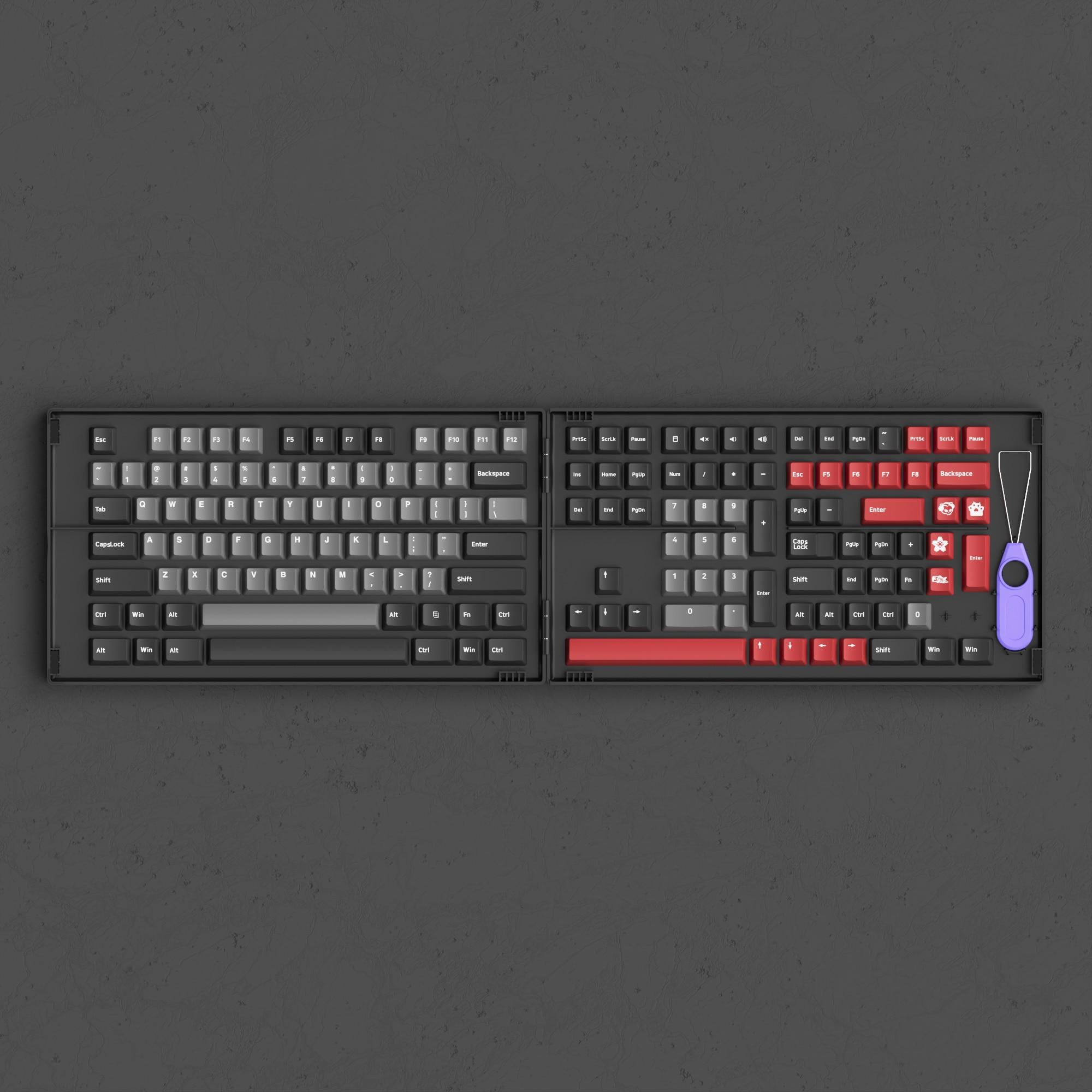 AKKO Psittacus 157 مفاتيح مزدوجة النار PBT الكرز الشخصي مجموعة أغطية مفاتيح كاملة ، مع صندوق تخزين مخصص لاستبدال لوحة المفاتيح الميكانيكية