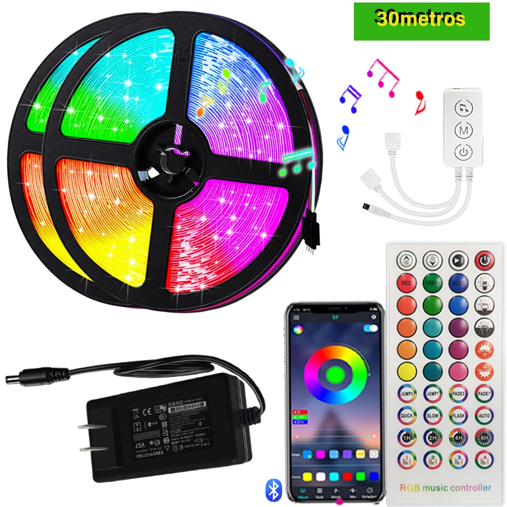 30M LED Strip Light SMD 5050 Lamp Diode Decoration Living Room Luminous String WIFI Controller Flexible RGB Background
