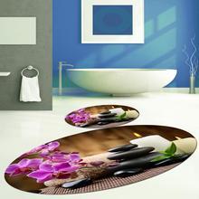 Else Black Spa Stones Candles Pink Flowers 2 Pcs 3d Pattern Print Bath Mats Anti Slip Soft Washable Bathroom Mat Toilet Rugs