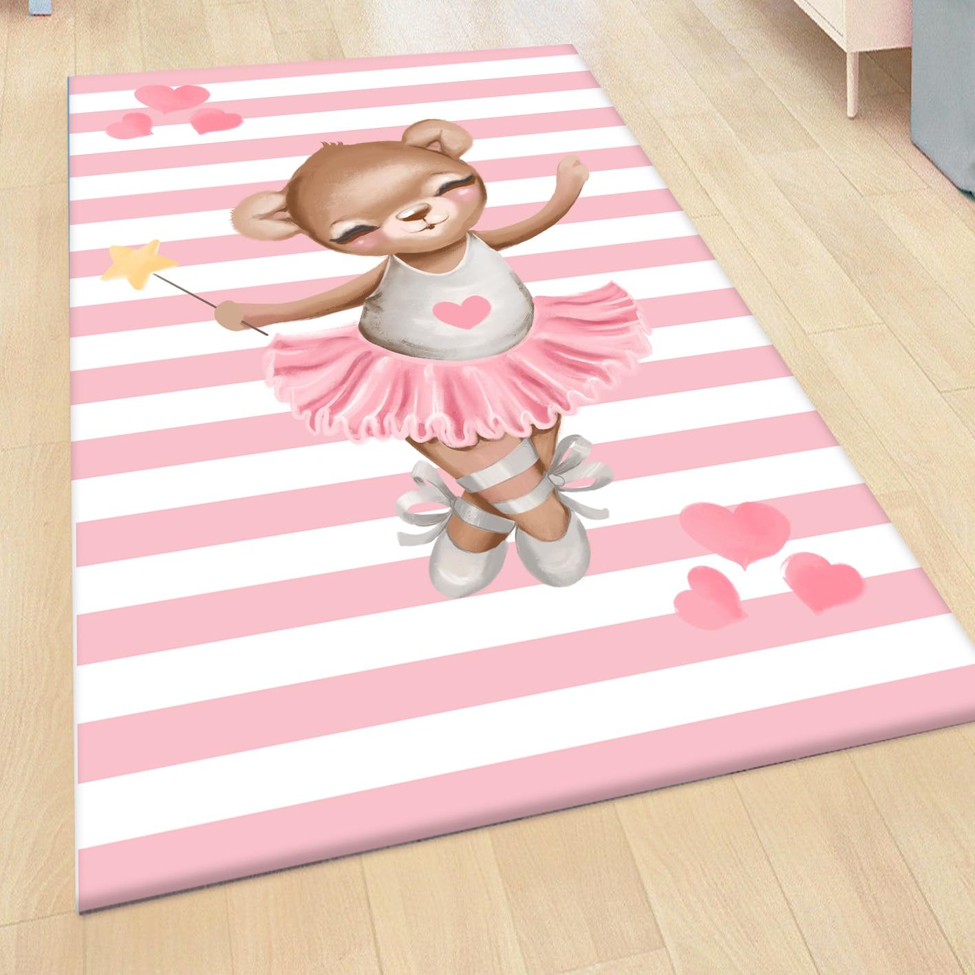 سجادة من الألياف الدقيقة لراقصة الباليه الوردية للفتيات ، بطباعة ثلاثية الأبعاد ، غير قابلة للانزلاق ، لتزيين غرفة الأطفال والرضع