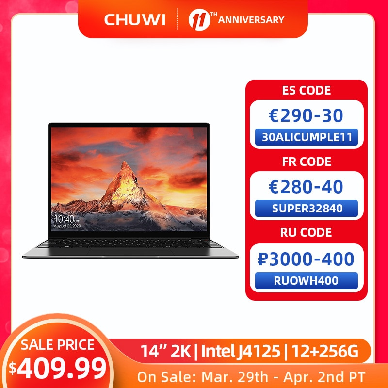 CHUWI GemiBook Pro 14 inch 2K Screen Laptop 12GB RAM 256GB SSD Intel Celeron Quad Core Windows 10 Computer with Backlit Keyboard