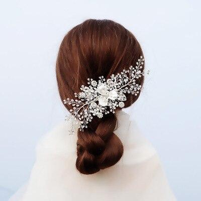 Indústria pesada tricô nupcial headdress han zhisen xianmei pérola hairpin arroz grânulo de água diamante mostrar ele lado clipe