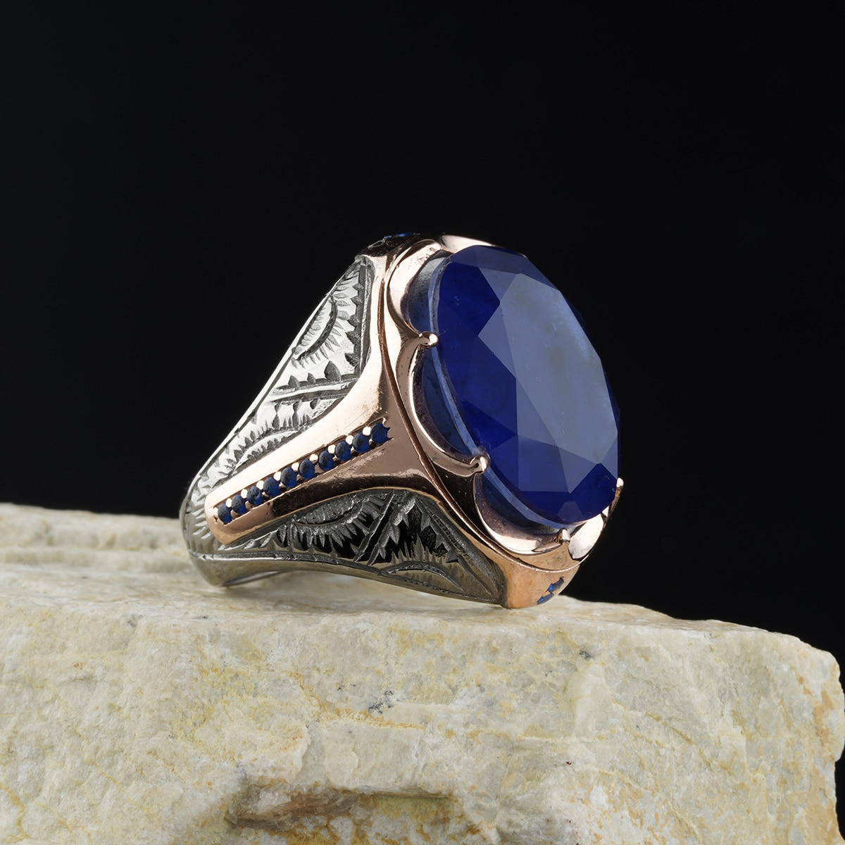 custom Jewelry Guaranteed High-quality 925 Sterling Silver Barbiya stone ring   green color  in a luxurious way for men with gif