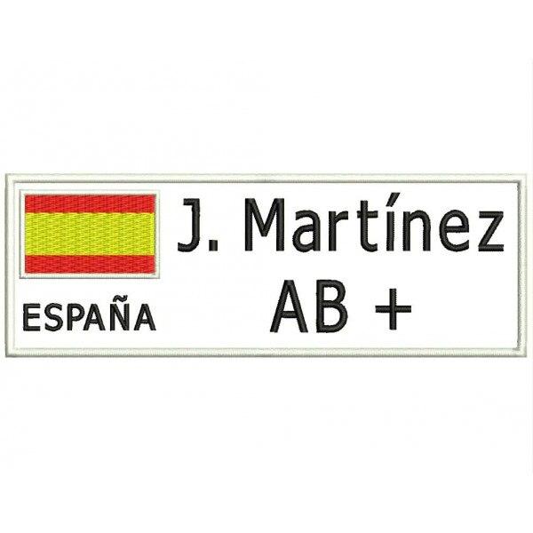 Bandeira do remendo do bordado espanha, nome e grupo do sangue