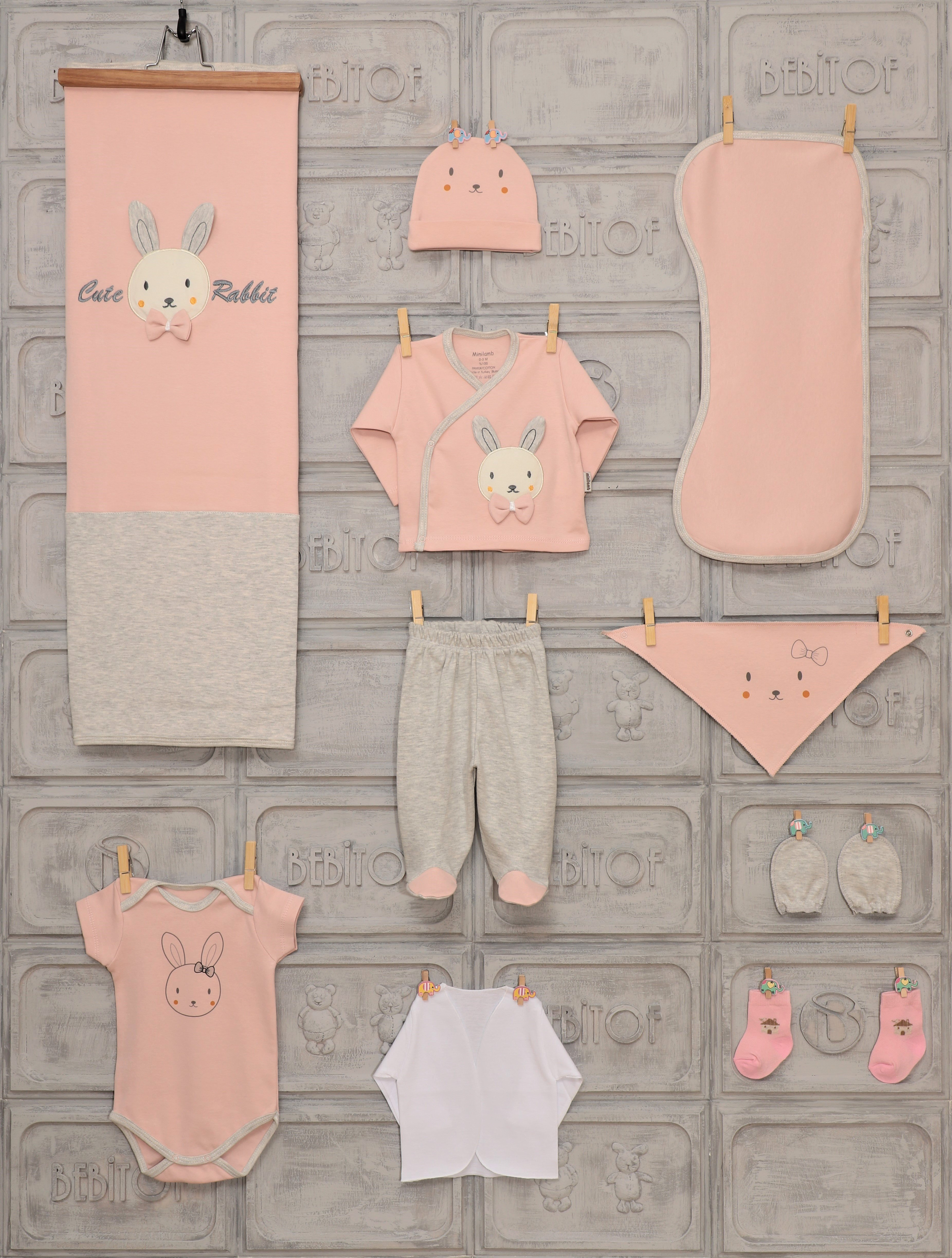 100% Turksh Cotton 10 Pcs, Girl Boy Newborn Baby Clothing Set Unısex, Lux, Premium,Underwear, Apron, Socks, Glove,Hat,Trousers