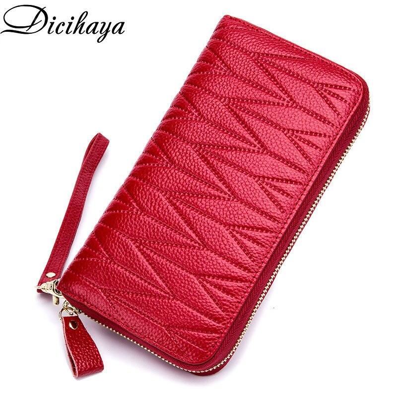 NEW Brand Genuine Leather Women Wallets Long  Zipper Wallet Ladies Clutch Bag Purse Female Luxury Pu