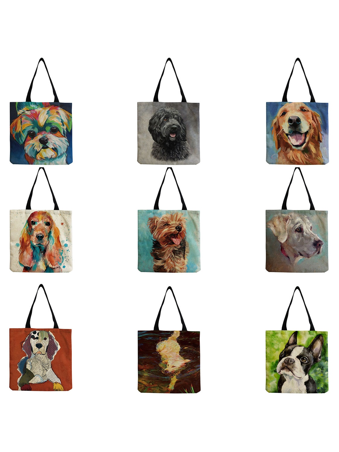 Exclusive Oil Painting Dog Print Large Capacity Shopping Bags for Groceries Papillon Pug Retriever P