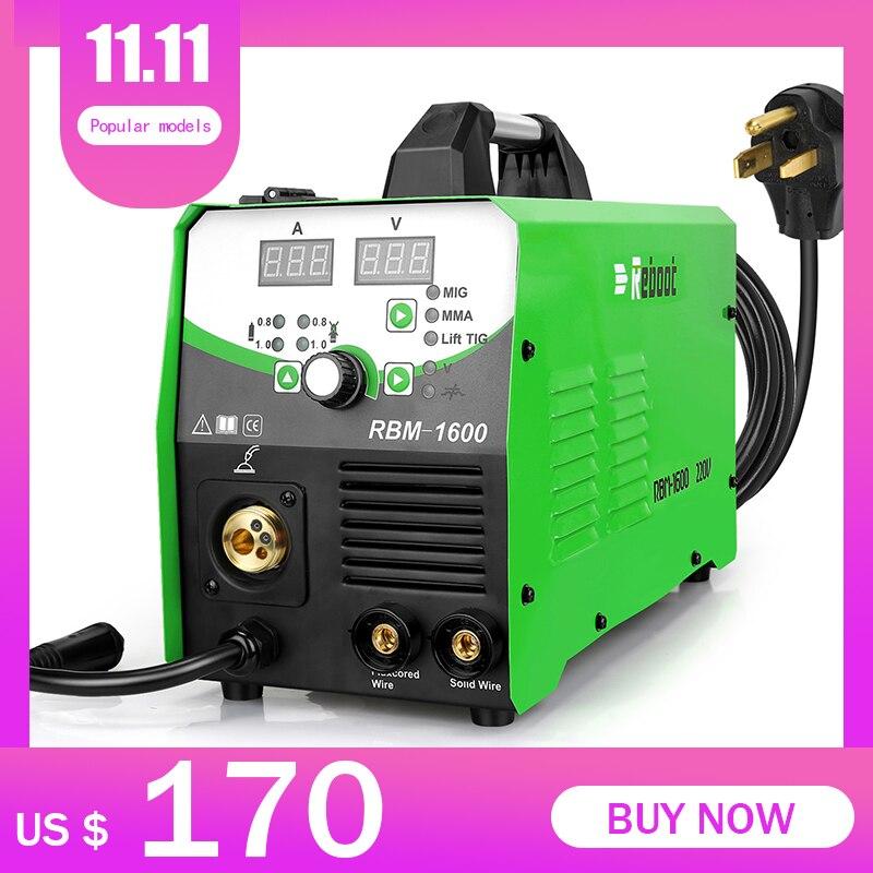 REBOOT MIG Welder MIG160 AC220V 1KG/5KG Gas/Gasless MIG/Stick/Lift TIG Welder 4 in 1 Flux Core  MIG Inverter Welding Machine