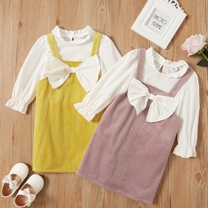 PatPat 2021 New Arrival Spring 2-Pack Toddler Girl Bowknot Suit-dress for Kids Girl Dress Sets Clothes