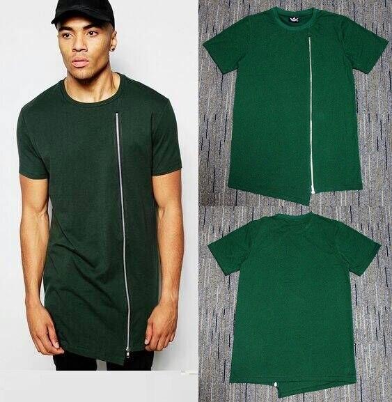 Hiphop homem rua nova kanye oeste camiseta longo zip t hommes mulheres hip hop streetwear hauts tamanho grande manches skate t