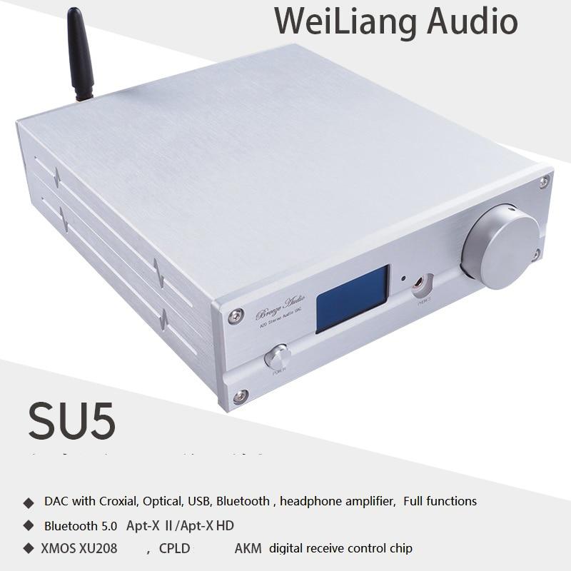 Weiliang SU5 XMOS USB DSD256 BT 5.0 ES9038Q2M DAC HIFI Bluetooth APTX Decoder TPA6120 سماعة مع جهاز تحكم عن بعد