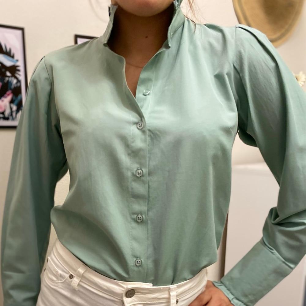 Женские рубашки, женские блузки, хлопковые топы и блузки, женские рубашки с длинным рукавом, зеленая офисная одежда, женская рубашка