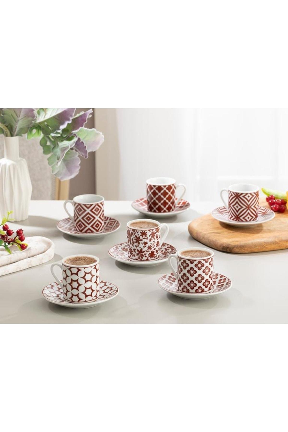Accueil anglais bourgogne-Mira porcelaine 6 pièces tasse à café Pad 80 ml, traditionnel turc tasse à café 12 pièces turc café