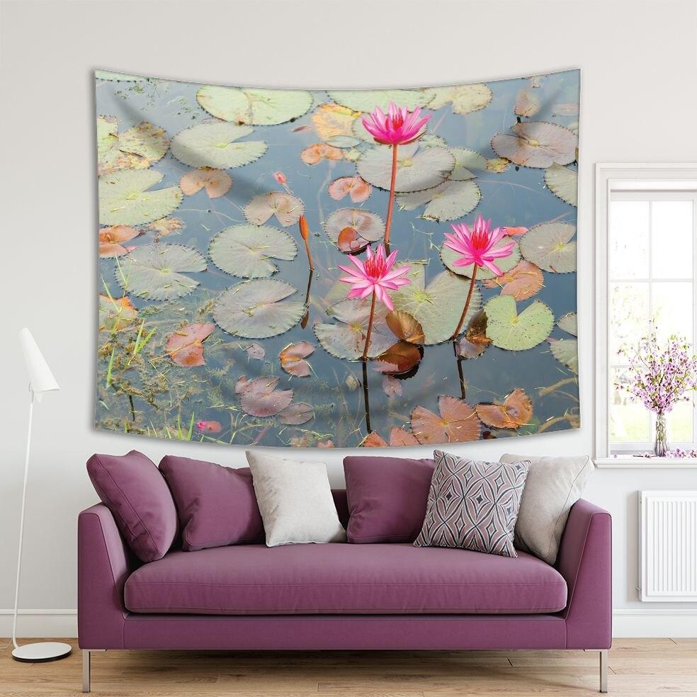 Tapiz de flores de loto acuáticas estanque en la naturaleza exótica Oriental plantas acuáticas imagen decorativa impresa Rosa verde marrón